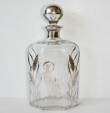 Antique Rare Sterling & Crystal Rye Decanter