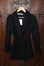 UNIQLO WOMEN LEMAIRE CASHMERE BLENDED ROBE SHORT COAT Navy BLUE