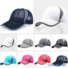 Mens Womens Plain Baseball Hats Trucker Mesh Curved Visor Cap Adjustable Summer
