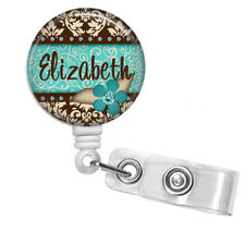 TURQUOISE DAMASK PERSONALIZED RETRACTABLE ID BADGE HOLDER OR LANYARD