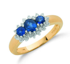 9k Yellow Gold Real Sapphire Trilogy Ring & Diamond - British Made - Hallmarked