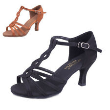 Brand New Women Ballroom Latin Tango Dance Shoes heeled Salsa Brown 5/7cm Heeled