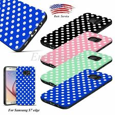 White Polka-dot Cute Color Soft Rubber Hard TPU Case Cover For Samsung S7 edge