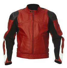 REDLEATHER JACKET MOTORCYCLE RACKING JACKET MEN MOTORBIKE BIKER LEATHER JACKET