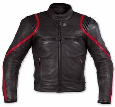 RED-STRIPE MEN LEATHER JACKET MOTORCYCLE RACING JACKET MOTORBIKE LEATHER JACKET