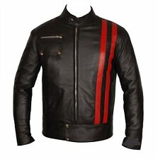 RED-STRIPE MEN LEATHER JACKET MOTORCYCLE BIKER JACKET MOTORBIKE LEATHER JACKET