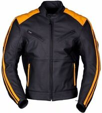 ORANGE/BLACK LEATHER JACKET MOTORBIKE/MOTORCYCLE LEATHER JACKET MEN BIKER JACKET