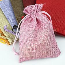 10 Drawstring Burlap Bags Pouch Wedding Party Gift Bags Jewelry Bags 3.54*5.12""