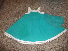 JANIE AND JACK 6-12 DRESS AND BLOOMERS POOLSIDE PALSM BLUEISH GREEN