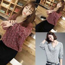 Womens Ladies Long Sleeve V Neck Loose Knitted Sweater Ladies Casual Jumper Tops