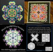 Black Background Designs: Stress Relieving Mandalas and Patterns Adult Coloring