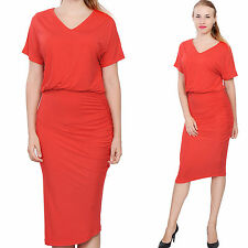 RED WOMENS ELEGANT DOLMAN SHORT SLEEVE BLOUSON MIDI DAY EVENING TEA DRESS
