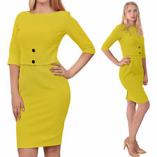 YELLOW CLASSY WORK OFFICE WIGGLE PENCIL DRESS Classic VINTAGE 1950 1960S DRESSES