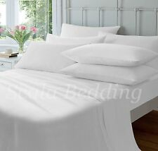 100% EGYPTIAN PURE COTTON BEDDING 4PC SHEET SETS 1000-TC WHITE SOLID ALL SIZE