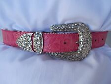New Women's Ohh Ashley Leather Embossed Croc Western Buckle B30112 Hot Pink