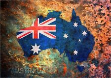 Map of Australia, Flag Maps, Art Print Poster - s677