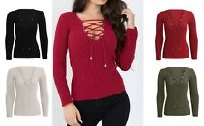 WOMENS LADIES RIBBED TIE LACE UP STRETCHED KNITTED LONG SLEEVE V NECK TOP JUMPER