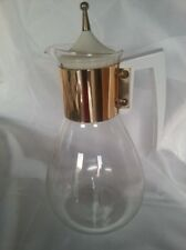 VINTAGE PYREX COLONY GLASS COFFEE POT CARAFE WHITE LID & HANDLE WITH GOLD TIP