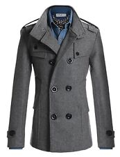 Mens Wool Slim Double Breasted Half Trench Coat STYLISH Winter Autumn Clothes