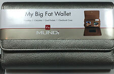 Mundi - My Big Fat Wallet SILVER/PEWTER -  Faux Grain Leather MSRP $38 New