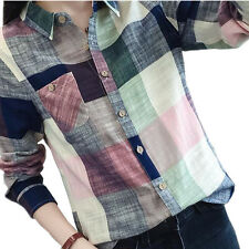 2016 Casual Cotton Long Sleeve Plaid Shirt Women Slim Outerwear Blouse Tops