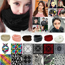 New Womens Mens Winter Warm Cable Knit Cowl Neck Bandana Long Snood Scarf Shawl