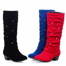 New Womens Faux Suede Platform Shoes Block High Heel Mid-Calf Boots US Size 5-10