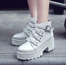 Fashion Womens platform block heels buckle zip up ankle boots winter warm shoes