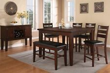 Counter Height Dining Set Walnut Wood Table Chair Bench With Faux Leather Seat