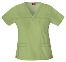 Dickies Scrubs 817455 V Neck Scrub Top Dickies Youtility Jr Fit Desert Sage