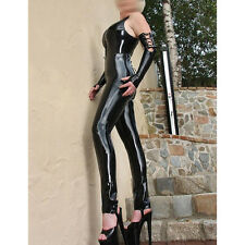 Sexy Latex Catsuit Women Back Bandage Unique Sleeveless Rubber Jumpsuit Costumes
