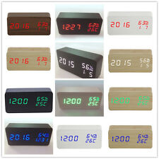 Black/White Wooden Cube LED Digital Alarm Clock with Thermometer Sound Control