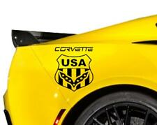 "NEW CORVETTE C3 C4 C5 C6 C7 USA FLAG SHIELD Decals Fits Chevrolet Corvette 8""x9"""
