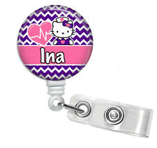 CHEVRON HELLO KITTY PINK PURPLE PERSONALIZED RETRACTABLE ID BADGE HOLDER LANYARD