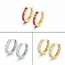 18k gold filled Channel Setting Square Red Ruby party's hoop pierced earring
