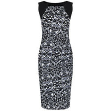 Black White Paisley Vintage Party Hollywood Wiggle Bodycon Pencil Cocktail Dress