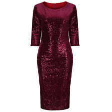 Deep Magenta Velour Sequin Hollywood Wiggle Bodycon Pencil Cocktail Prom Dress