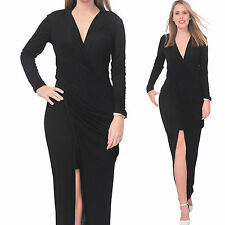 BLACK WOMEN'S DRAPED LONG MAXI BODYCON SLIM DRESS EVENING PARTY COCKTAIL GOWN