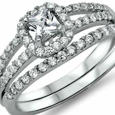925 Sterling Silver Wedding Ring Set CZ Princess Cut Engagement Size 8 New z3