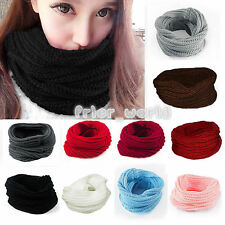 Fashion Women Girls Warm Loop Snood Scarf Cable Knit Neck Circle Wrap Cowl Shawl