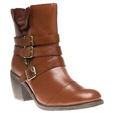 New Womens Hush Puppies Tan Rustique Ankle Leather Boots Buckle Zip