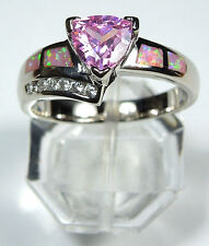 PINK TOPAZ & PINK FIRE OPAL INLAY 925 STERLING SILVER RING SIZE 8