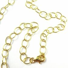 Gold plated Sterling Silver Necklace Round Cable Oval Chain Vermeil Necklace
