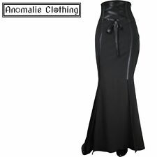 Chic Star Black Corset Waisted Long Skirt - Victorian Gothic Corporate Goth