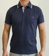 Men's Slim-Fit Twin Tripped Interlock Polo Shirt FRED PERRY