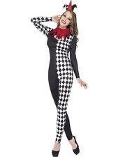 Adult Sexy Fever Harlequin Jester Ladies Halloween Fancy Dress Costume Outfit