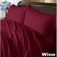 US-BEDDING COLLECTION 1000TC 100%EGYPTIAN COTTON WINE STRIPE US QUEEN SIZE