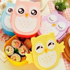New Cartoon Owl Lunch Box Food Container Storage Box Portable Bento Box Spoon ST
