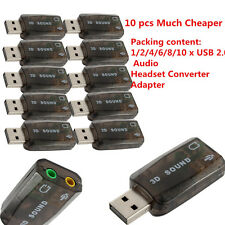 Chic USB 2.0 Audio Headset Microphone Jack Converter Sound Card Adapter Hot Lot#