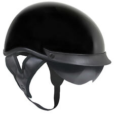 Outlaw T72 DOT Gloss Black Drop Visor (Smoke) Motorcycle Skull Cap Half Helmet
